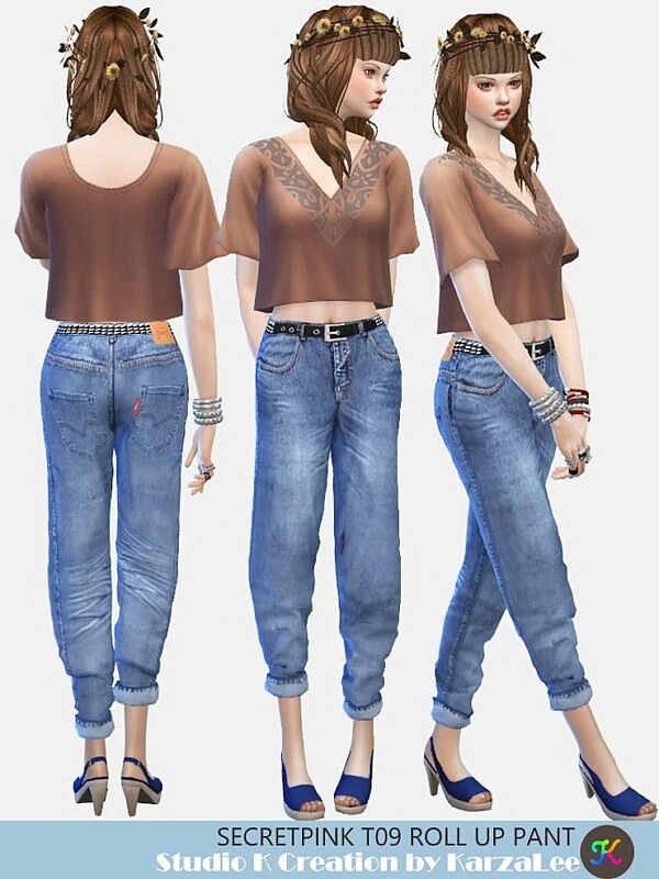T09 roll up pant sims 4 cc