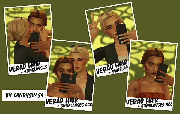 Verao Hair and Sunglasses from Candy Sims 4
