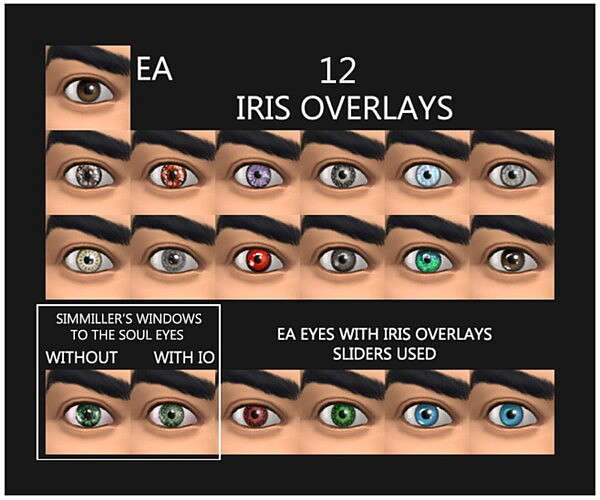 12 Iris Overlays   Face Paint by Simmiller from Mod The Sims