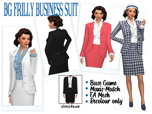 BG FRILLY BUSINESS SUIT from Sims 4 Sue