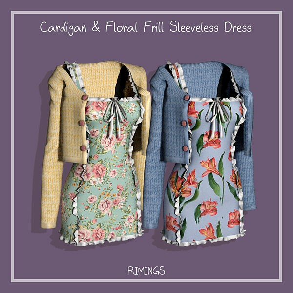Cardigan and Floral Frill Sleeveless Dress from Rimings