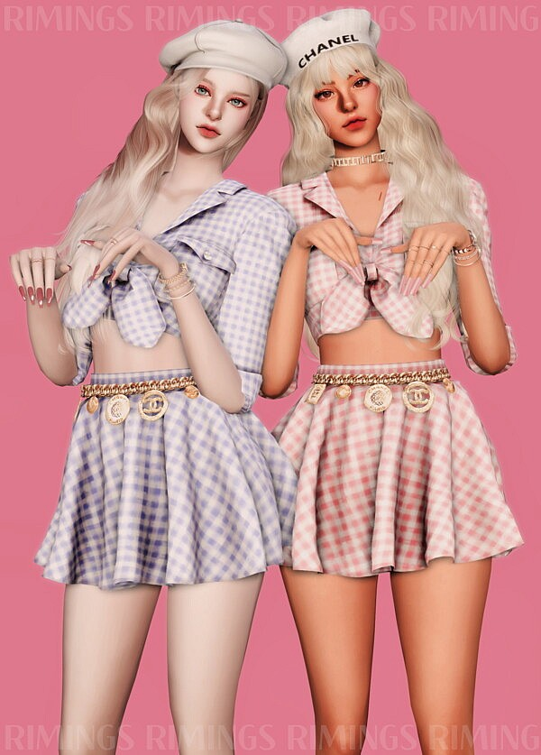 Crop Shirts & Chain Belt & Short Skirt from Rimings