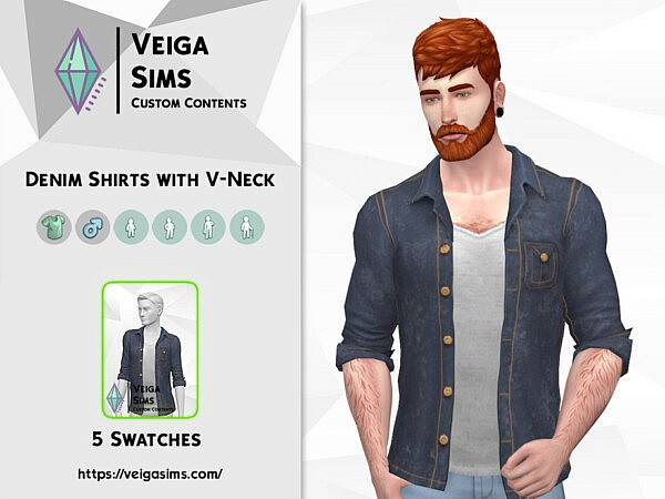 Denim Shirts with V Neck by David Mtv from TSR