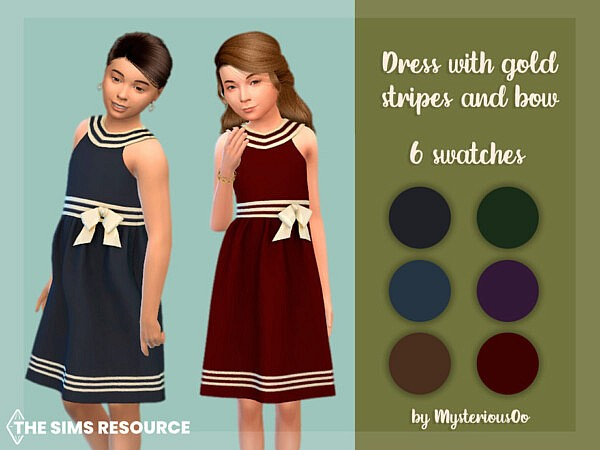 Dress with gold stripes and bow by MysteriousOo from TSR