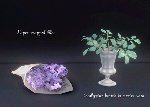 Eucalyptus branch in pewter vase and paper wrapped lilac from Garden Breeze