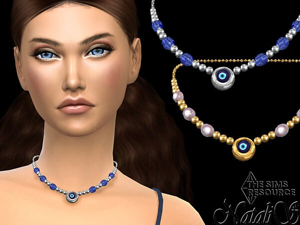 Evil eye beaded necklace by NataliS from TSR