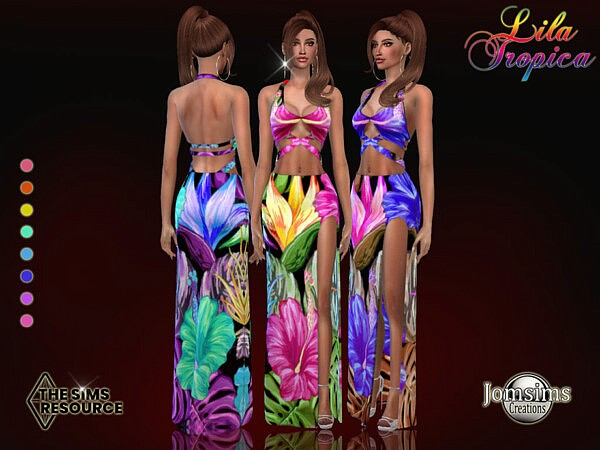 Lila Tropica dress by jomsims from TSR