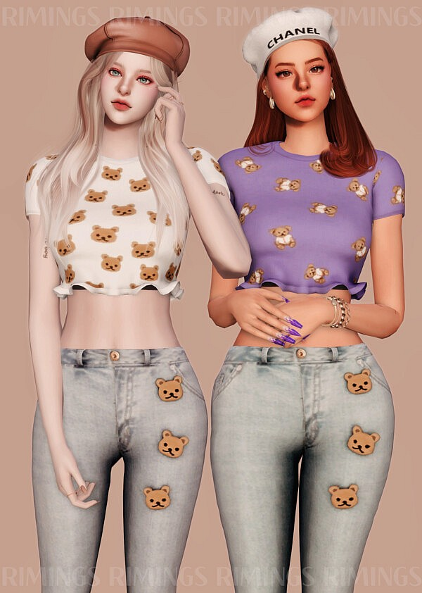 Lovely Bear Pattern Crop Top and Jeans from Rimings