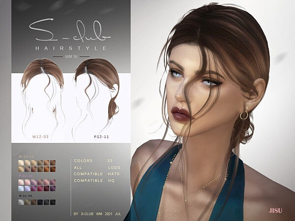Natural windy hairstyles with bun JISU by S   Club from TSR