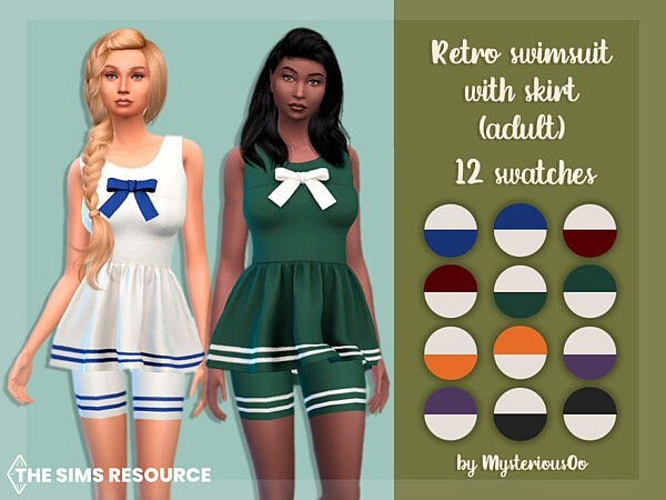 Retro swimsuit with skirt by MysteriousOo from TSR