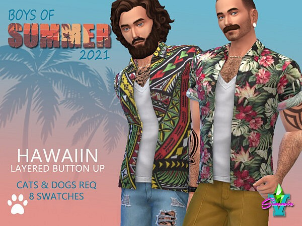 BoS Hawaiian Layered Button up by SimmieV from TSR