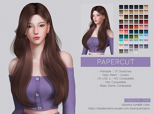 PAPERCUT HAIR from Obsidian Sims