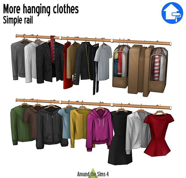 Dressing add ons: more hanging clothes & simple rail from Around The Sims 4