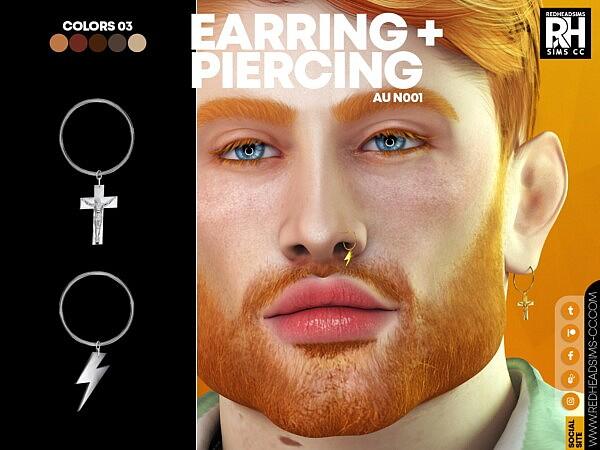 AU EARRING + PIERCING N001 from Red Head Sims