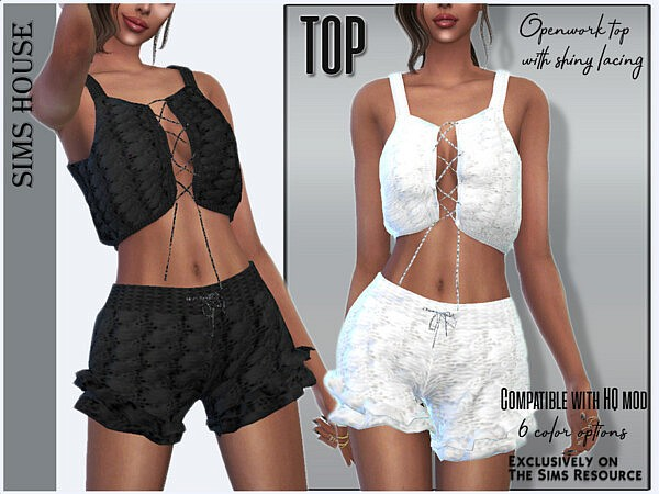 Openwork top with shiny lacing by Sims House from TSR
