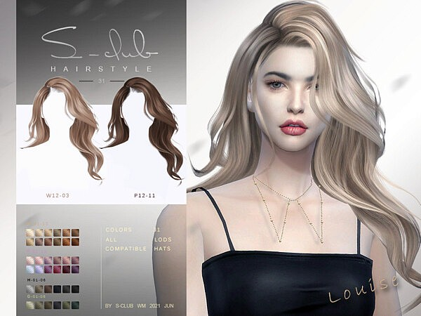 Mi   Long Hair wavy hair for female (Louise) by S Club from TSR