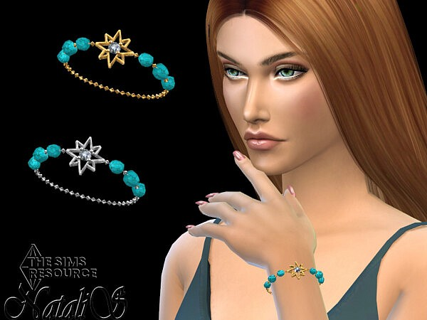 Starry turquoise gem chain bracelet by NataliS from TSR