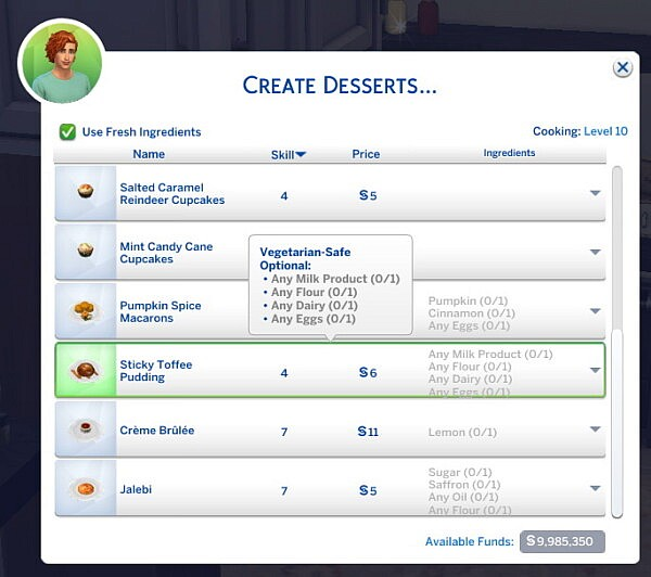 Sticky Toffee Pudding New Custom Recipe by RobinKLocksley from Mod The Sims