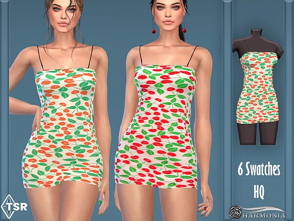 Sweet Floral Super Mini Dress by Harmonia from TSR