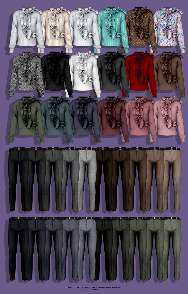 Frill Blouse, Belt and Suit Pants from Rimings