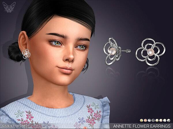 Annette Flower Pearl Earrings KG by feyona from TSR