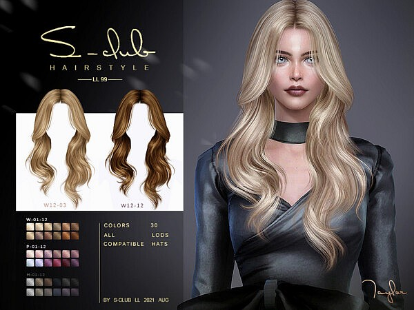 Centre parting curly hairstyle by S Club from TSR