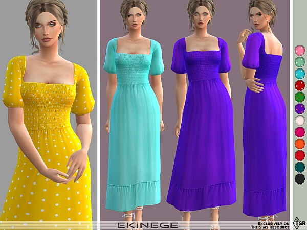 Puff Sleeve Shirred Maxi Dress by ekinege from TSR