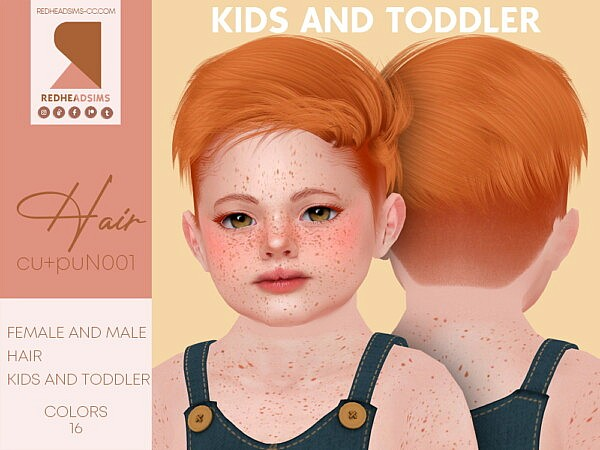 Hair N001 Child and Toddlers from Red Head Sims