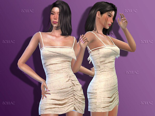 Stone Gathered Asymmetric Mini Dress DO183 by D.O.Lilac from TSR