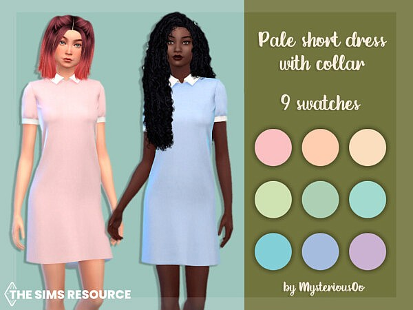 Pale short dress with collar by MysteriousOo from TSR