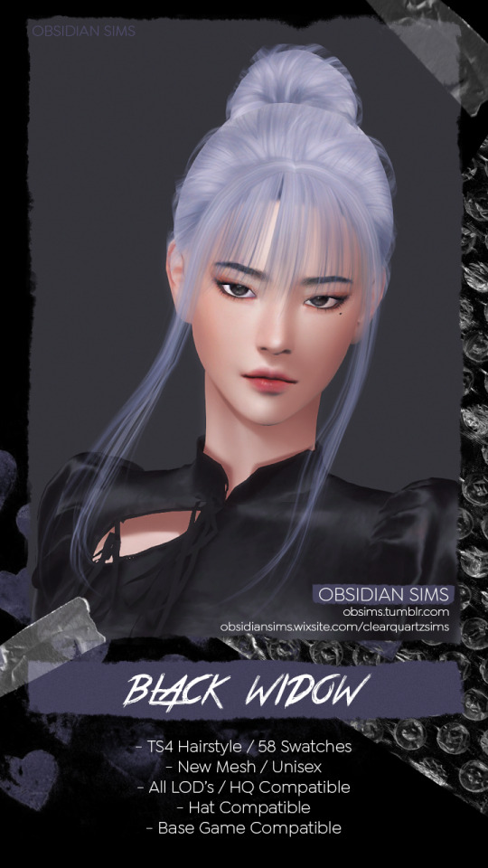 Black Widow Hairstyle Free from Obsidian Sims