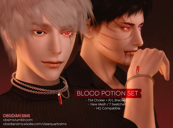 Blood Potion Set Choker and Bracelets from Obsidian Sims