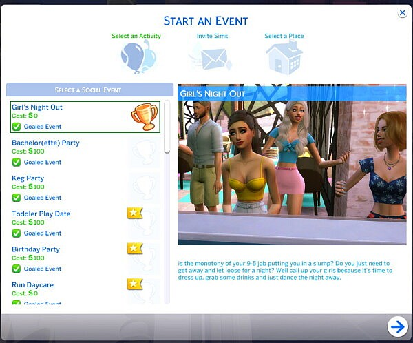 Girls Night Out Custom Social Event by solarmoodlet from Mod The Sims